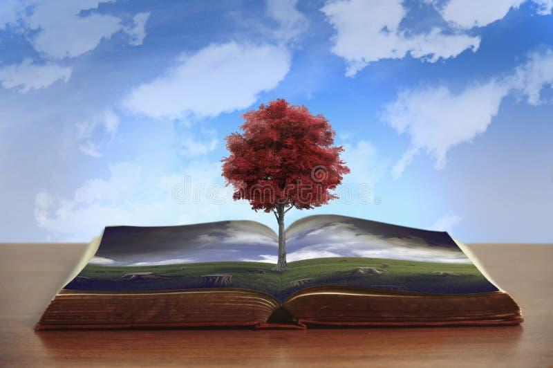 Tala de árboles y un árbol del superviviente stock de ilustración