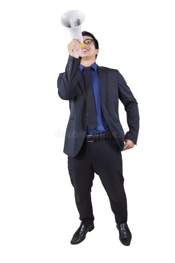 tala för affärsmanmegafon royaltyfri fotografi