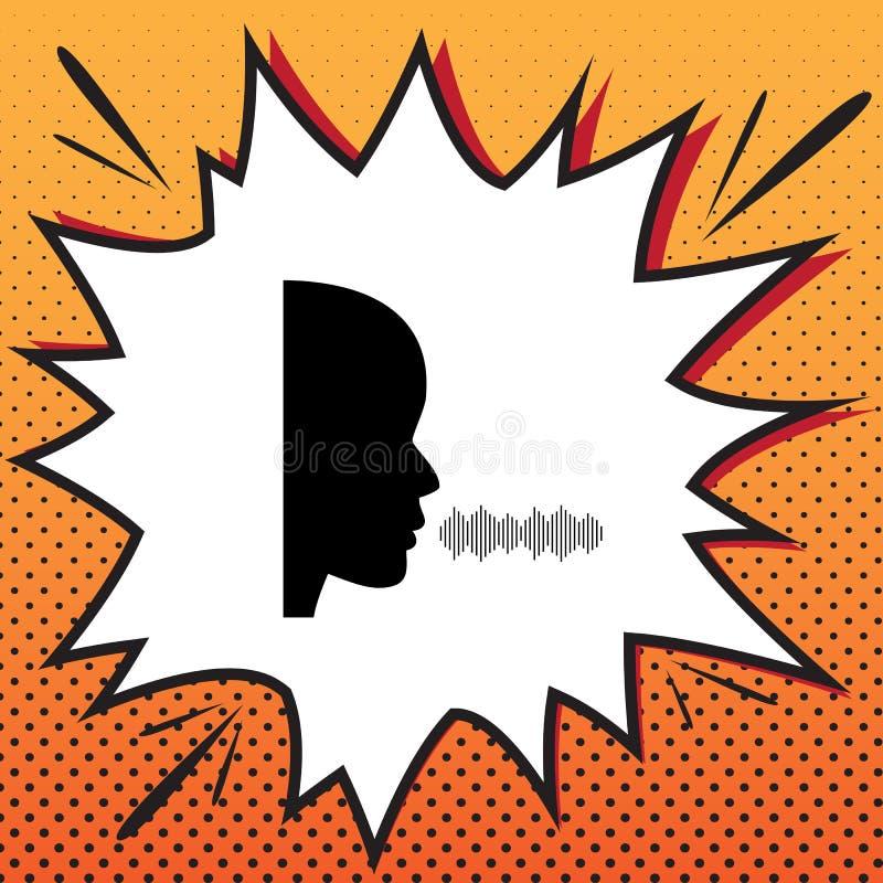 Tala för folk eller sjungande tecken vektor Komikerstilsymbol på po fotografering för bildbyråer