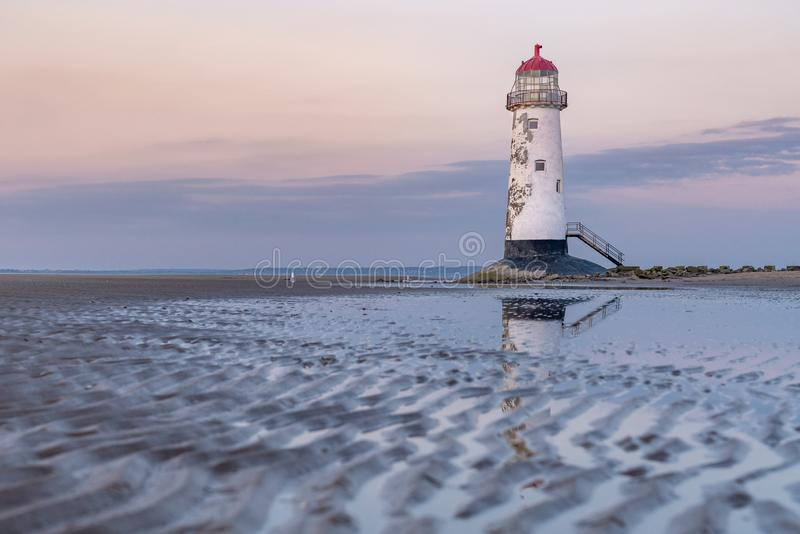 Talacre Lighthouse, Clwyd, Wales, UK. Evening at the Point of Ayr Lighthouse near Talacre, Flintshire, Clwyd, Wales, UK royalty free stock photography