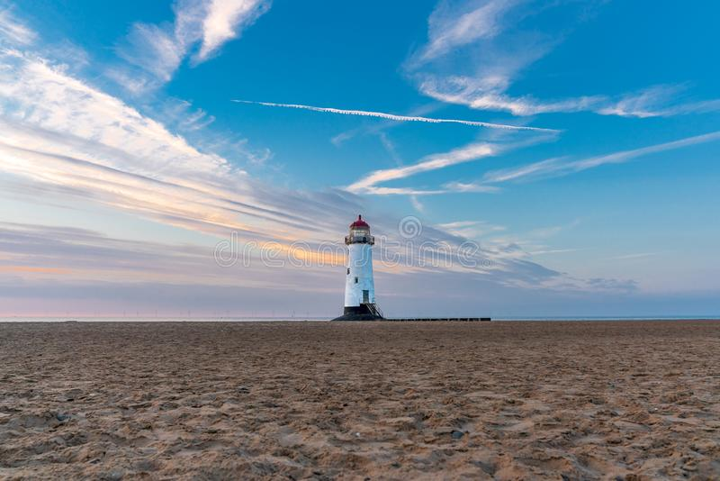 Talacre Lighthouse, Clwyd, Wales, UK. Evening at the Point of Ayr Lighthouse near Talacre, Flintshire, Clwyd, Wales, UK royalty free stock image