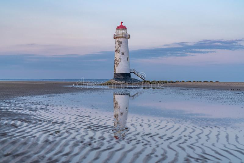 Talacre Lighthouse, Clwyd, Wales, UK. Evening at the Point of Ayr Lighthouse near Talacre, Flintshire, Clwyd, Wales, UK royalty free stock photo