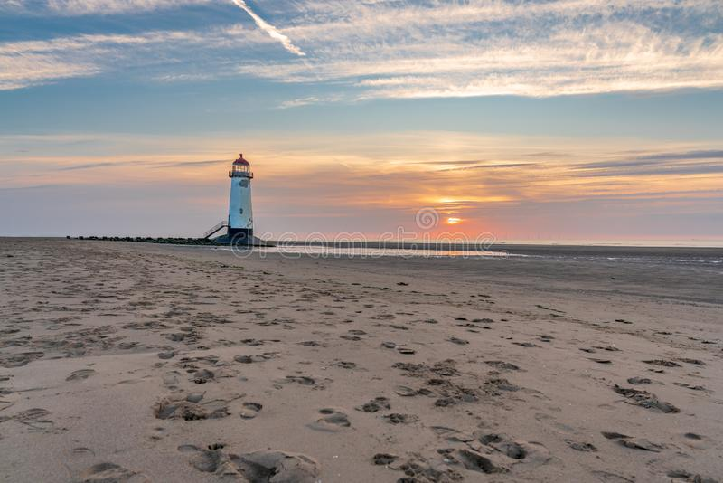Talacre Lighthouse, Clwyd, Wales, UK. Sunset at the Point of Ayr Lighthouse near Talacre, Flintshire, Clwyd, Wales, UK royalty free stock photography