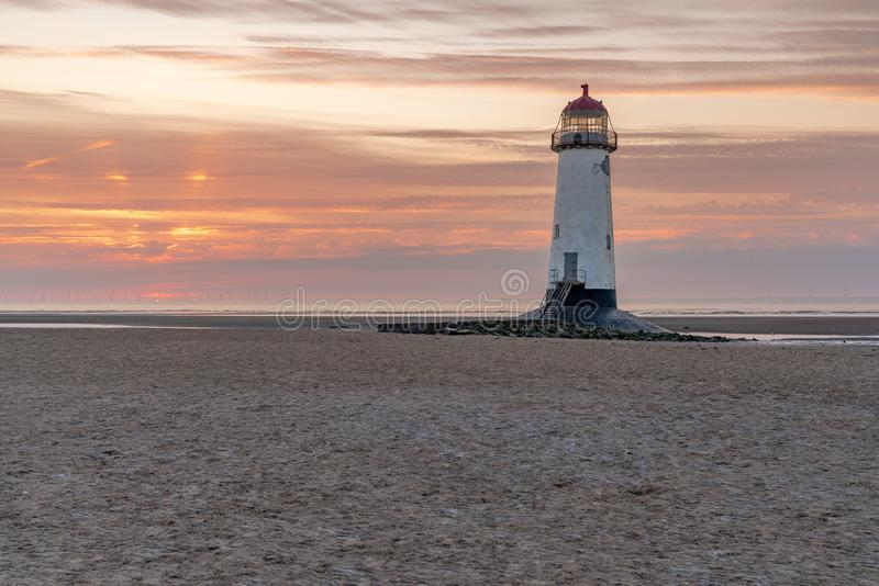 Talacre Lighthouse, Clwyd, Wales, UK. Sunset at the Point of Ayr Lighthouse near Talacre, Flintshire, Clwyd, Wales, UK stock photo