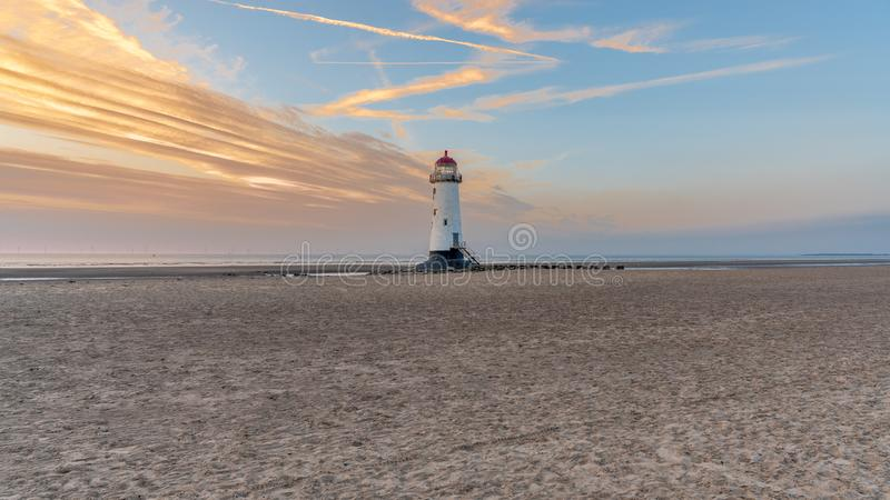Talacre Lighthouse, Clwyd, Wales, UK. Sunset at the Point of Ayr Lighthouse near Talacre, Flintshire, Clwyd, Wales, UK stock photos