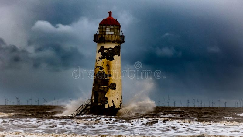 Talacre Lighthouse Flintshire North Wales UK. Talacre Lighthouse set in Flintshire North Wales UK on a cold windy day royalty free stock image