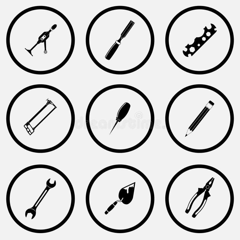 Taladro de mano, cincel, llave inglesa del ciclo, sierra para metales, lezna, lápiz, paleta, libre illustration