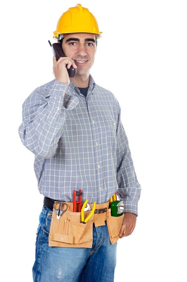 talande arbetare för telefon royaltyfria foton