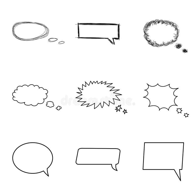 Talande bubblauppsättning Komiska stilanförandebubblor royaltyfri illustrationer