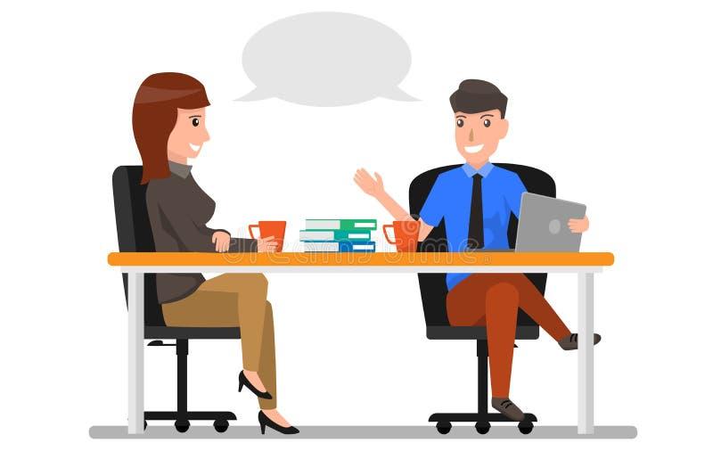 Talande diskutera för för affärsman och kvinna, Businesspeoplepratstund S stock illustrationer