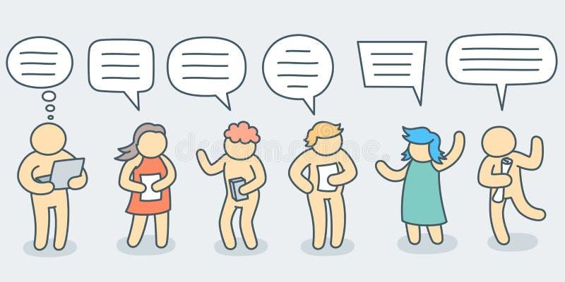 Talande folk med den enkla klotterbubblaupps?ttningen - linje konstvektorillustration royaltyfri illustrationer