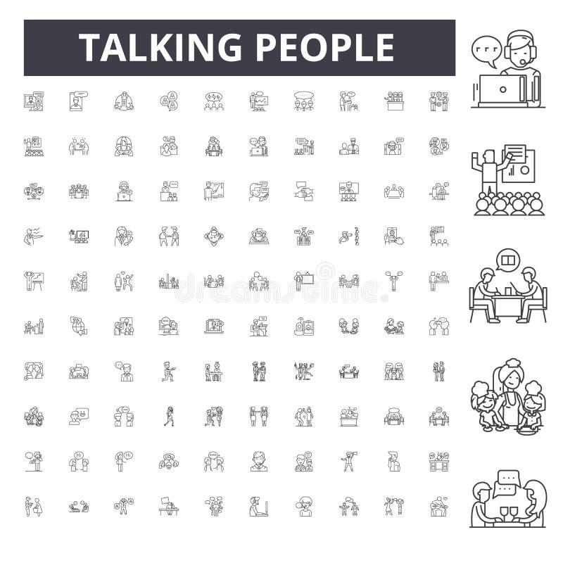 Talande folklinje symboler, tecken, vektoruppsättning, översiktsbegreppsillustration stock illustrationer