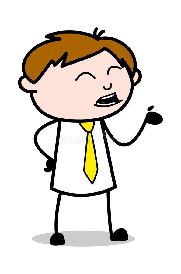 Talande gest - kontorsrepresentantEmployee Cartoon Vector illustration royaltyfri illustrationer