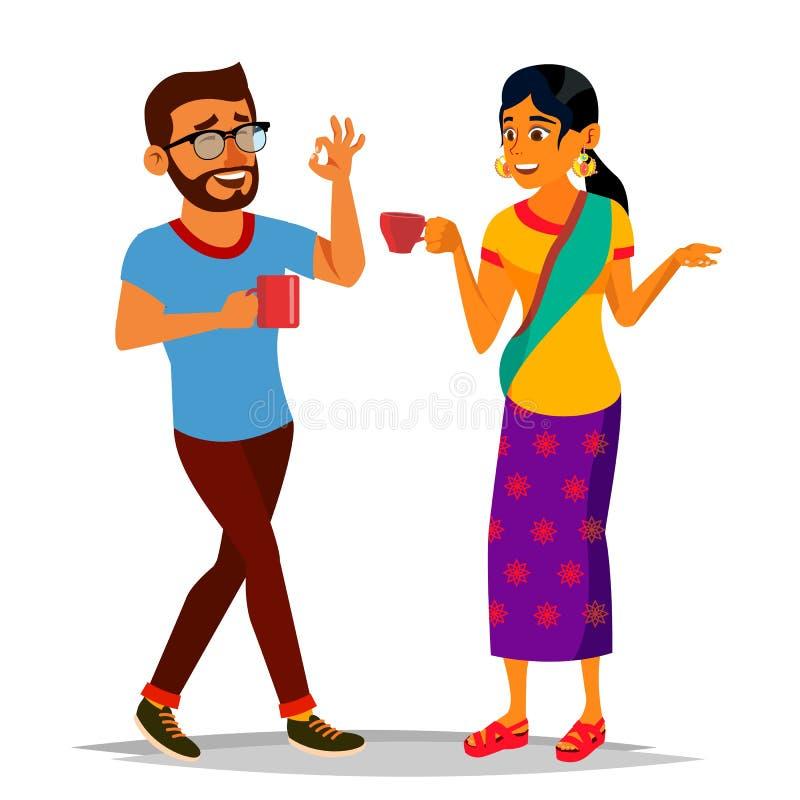 Talande indisk man- och kvinnavektor Skratta vänner, kontorskollegor Meddela som är hinduiskt stående för person för affärsaffärs stock illustrationer