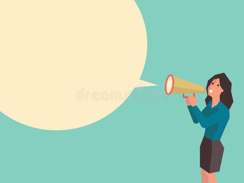 talande kvinna vektor illustrationer