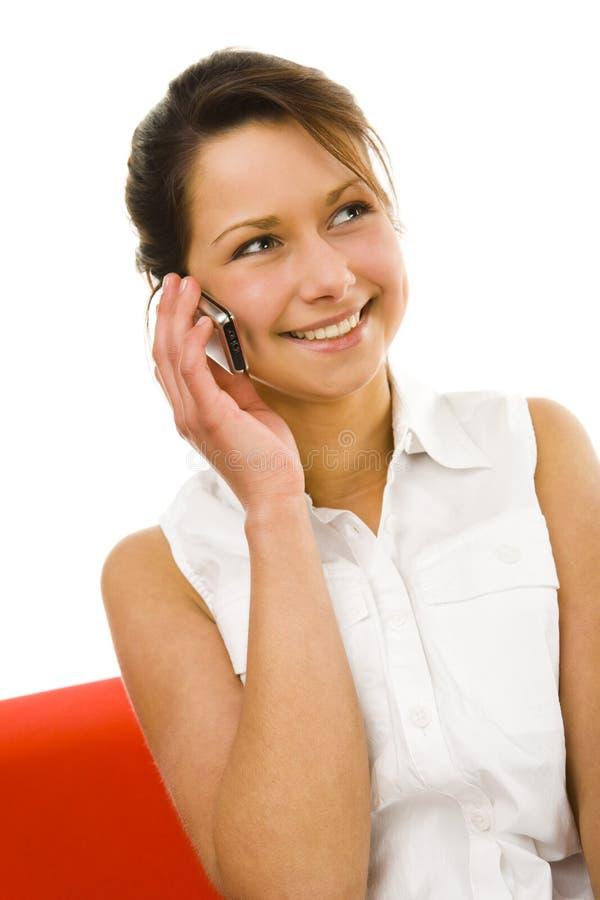 talande kvinna för mobiltelefon arkivfoton