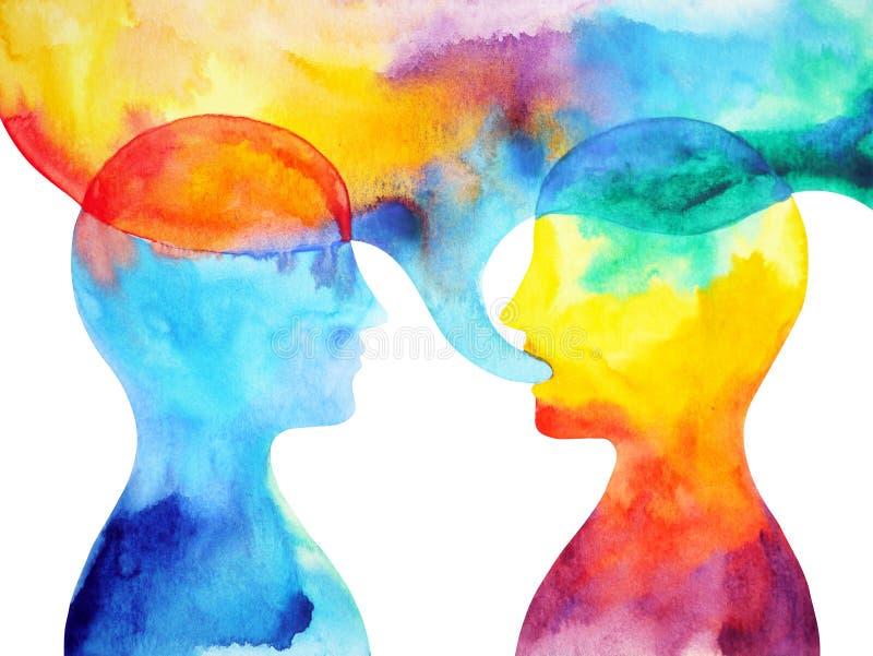 Talande och lyssnande makt för människa av genin tillsammans stock illustrationer