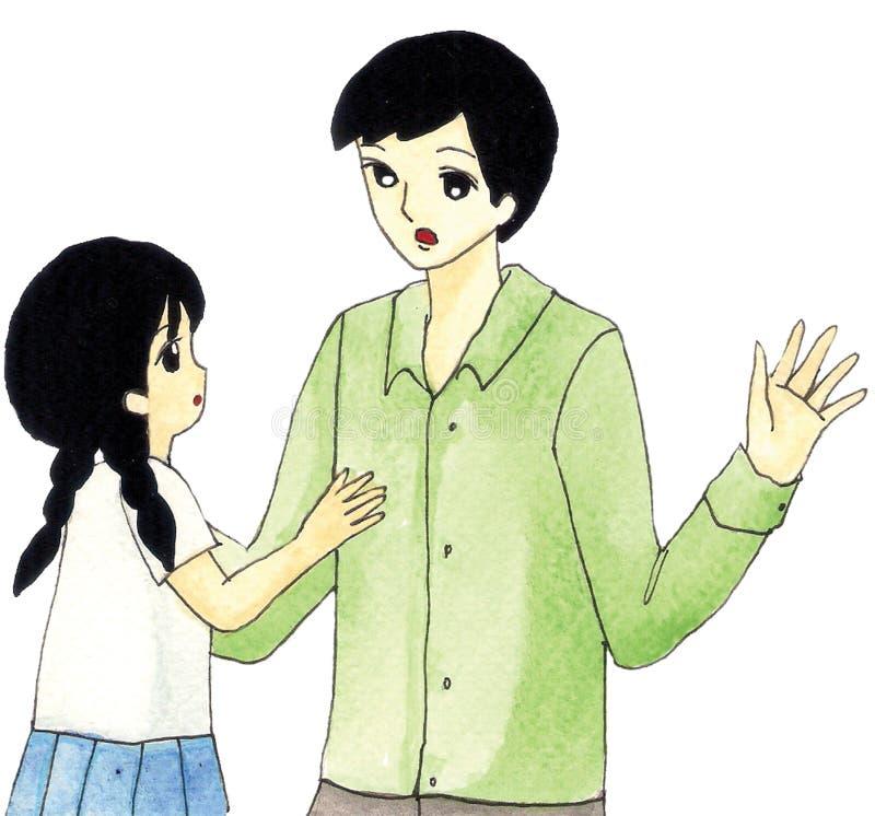 Talande tecknad film för fader och för dotter vektor illustrationer