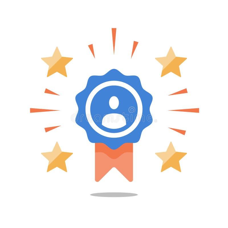 Talangutmärkelse, anställd av månaden, utstående prestation, första ställevinnare, belöning för bra arbete, lyckad person stock illustrationer