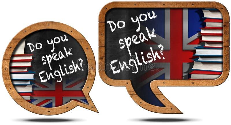 Talar du engelska - anförandebubblor vektor illustrationer