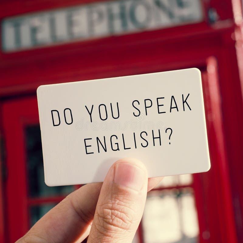 Talar du engelska? i en skylt royaltyfria foton