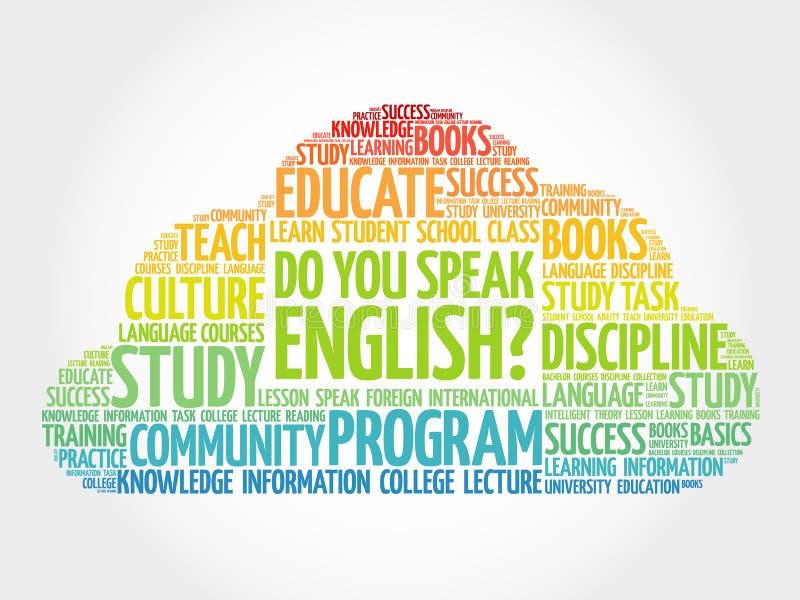 Talar du engelska? ordmoln royaltyfri illustrationer