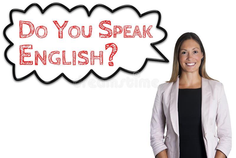 Talar du engelska? skola för språk för molnsatsord Kvinna på vitbakgrund stock illustrationer
