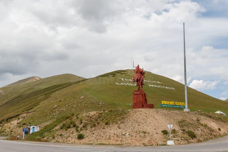 Talas del valle, Kirguistán - 15 de agosto de 2016: Monumento a Manas fotografía de archivo