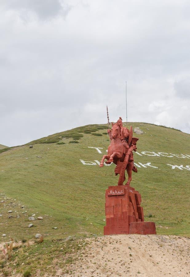 Talas del valle, Kirguistán - 15 de agosto de 2016: Monumento a Manas fotos de archivo libres de regalías