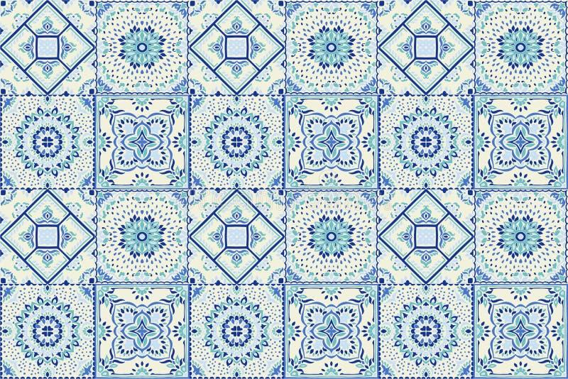 Talavera σχέδιο ινδική προσθήκη Azulejos Πορτογαλία Τουρκική διακόσμηση Μαροκινό μωσαϊκό κεραμιδιών απεικόνιση αποθεμάτων