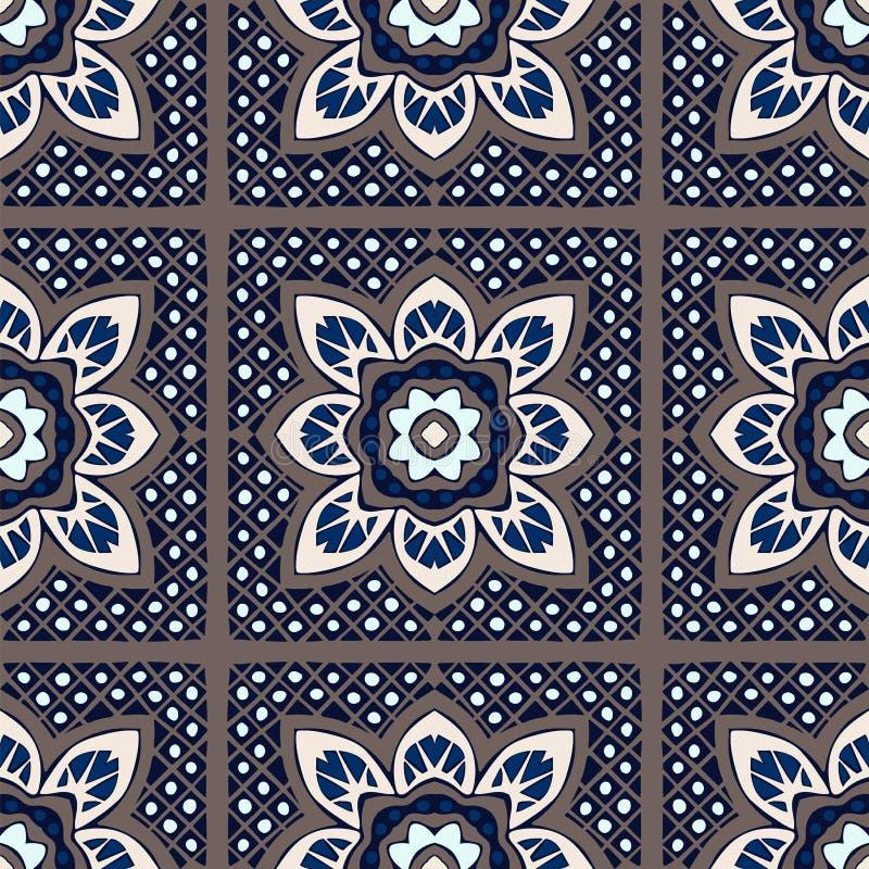 Talavera σχέδιο ινδική προσθήκη Azulejos Πορτογαλία Τουρκική διακόσμηση Μαροκινό μωσαϊκό κεραμιδιών διανυσματική απεικόνιση