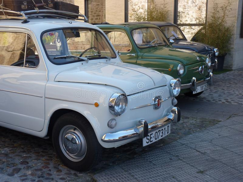 Talavera de la Reina, Spain-February 24, 2018: Exhibition of vintage cars. Three Seat 600 cars stock image