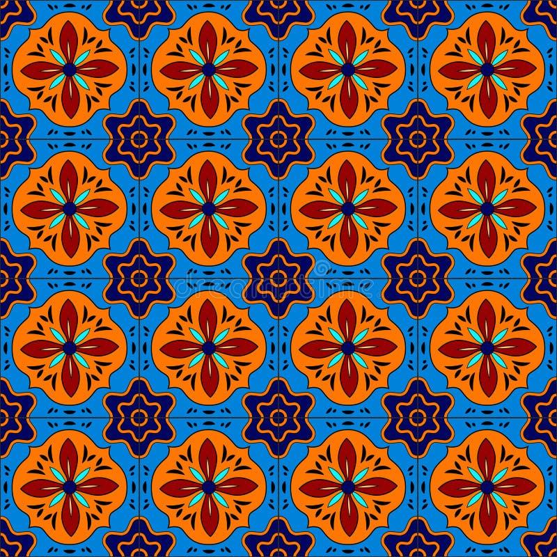 Talavera estilizada mexicana teja el modelo inconsútil en azul y rojo, vector stock de ilustración