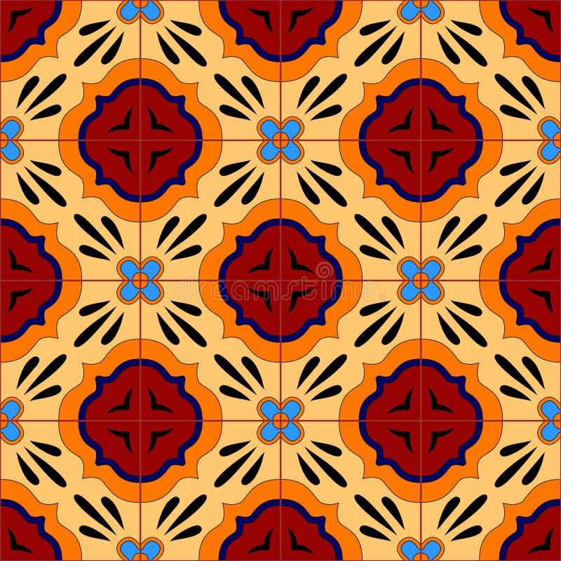Talavera estilizada mexicana teja el modelo inconsútil en azul y rojo, vector libre illustration
