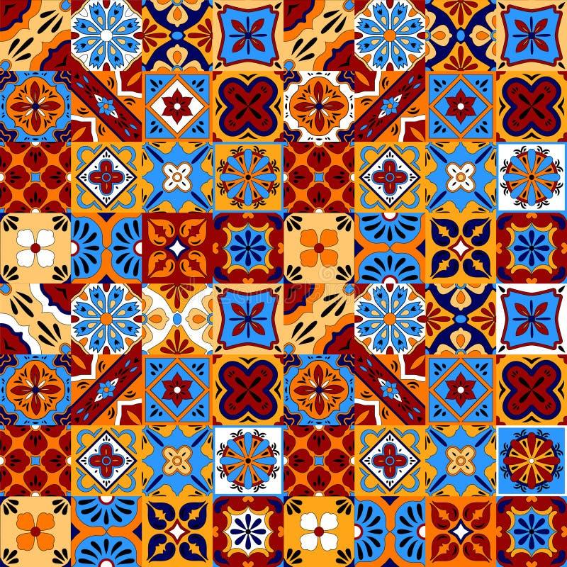 Talavera estilizada mexicana teja el modelo inconsútil en el rojo azul y el amarillo, vector stock de ilustración