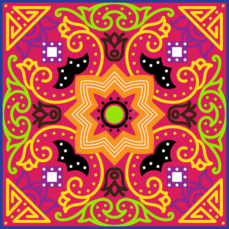 Talavera-Fliese Vibrierendes mexikanisches nahtloses Muster, lizenzfreie abbildung