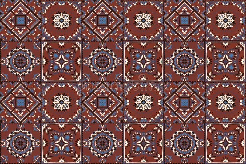 Talavera modell indisk patchwork Azulejos Portugal Turkisk prydnad Marockansk tegelplattamosaik stock illustrationer
