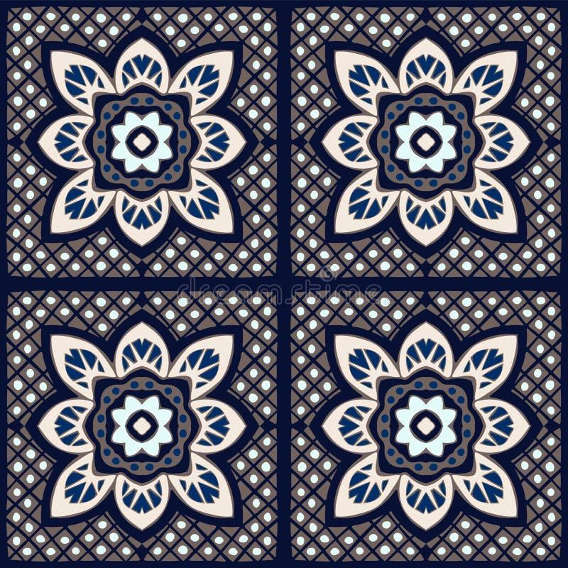 Talavera-Muster Indisches Patchwork Azulejos Portugal Türkische Verzierung Marokkanisches Fliesen-Mosaik vektor abbildung