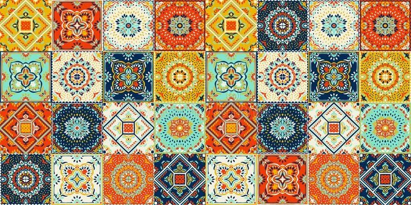 Talavera patroon Indisch lapwerk Azulejos Portugal Turks ornament Marokkaans Tegelmozaïek stock illustratie