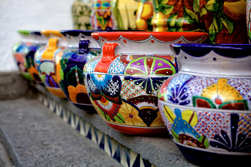 Talavera Pots Stock Photo Image Of Colorful Depth Line