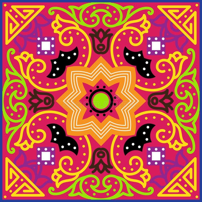 Talavera tile. Vibrant Mexican seamless pattern, royalty free illustration