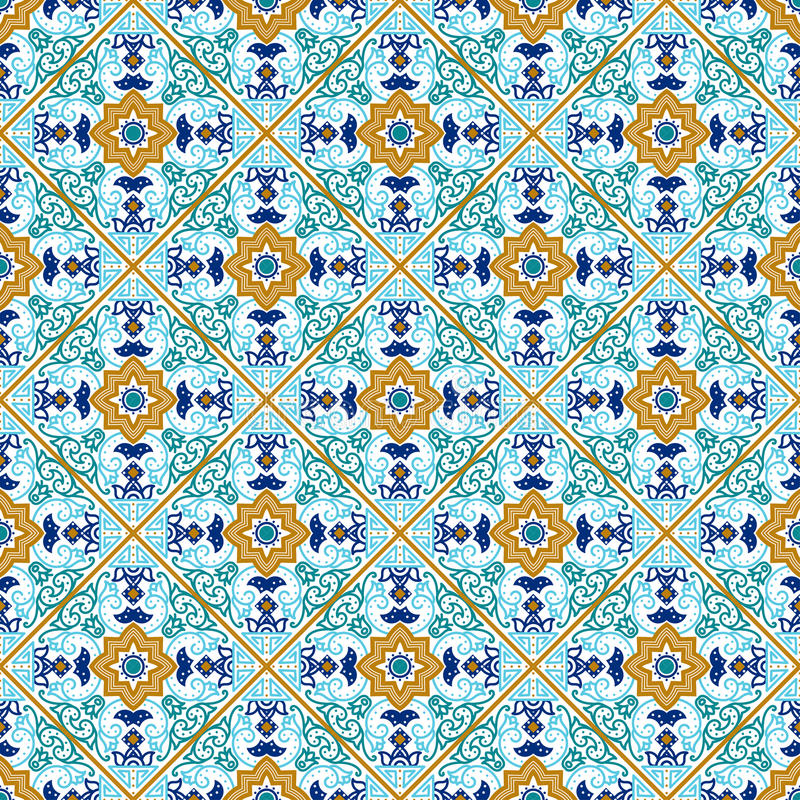 Talavera tile. Vibrant Mexican seamless pattern, stock illustration