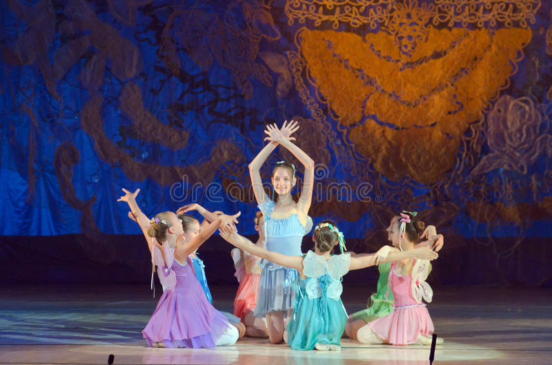 Tale ballet. DNIPROPETROVSK, UKRAINE - JUNE 27, 2015: Unidentified girls, ages 7-15 years old, perform Fairies at State Opera and Ballet Theatre stock photos