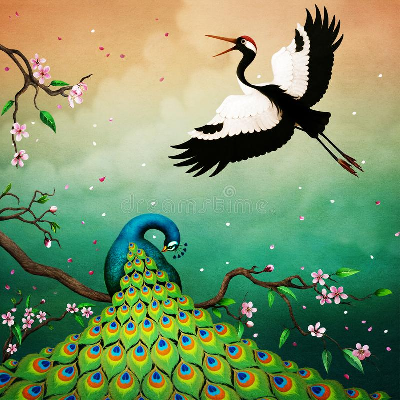 Tale about Crane and Peacock stock illustration