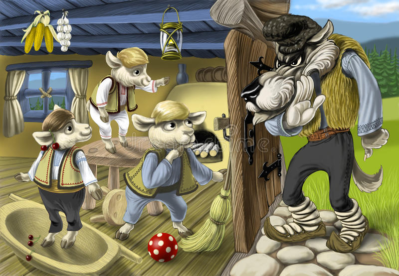 Tale of tThe three little goatts and the wolf royalty free illustration