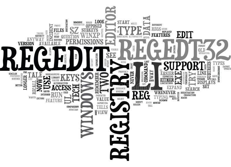 A Tale Of Two Regeds Registry Editorsword Cloud. A TALE OF TWO REGEDS REGISTRY EDITORS TEXT WORD CLOUD CONCEPT vector illustration