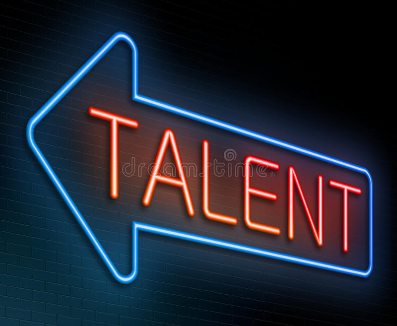 Talent concept. Illustration depicting an illuminated neon sign with a talent concept royalty free illustration