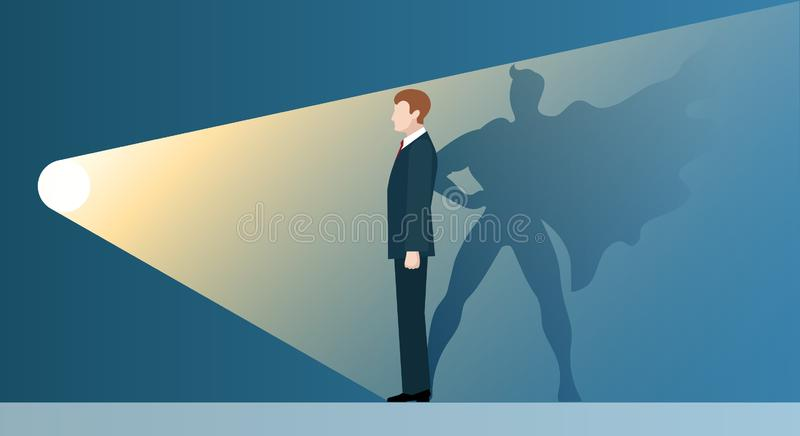 Talent headhunting. business concept. Talent headhunting. Sucsess leader like superhero in spotlight, vector concept of business recruitment for new career stock illustration