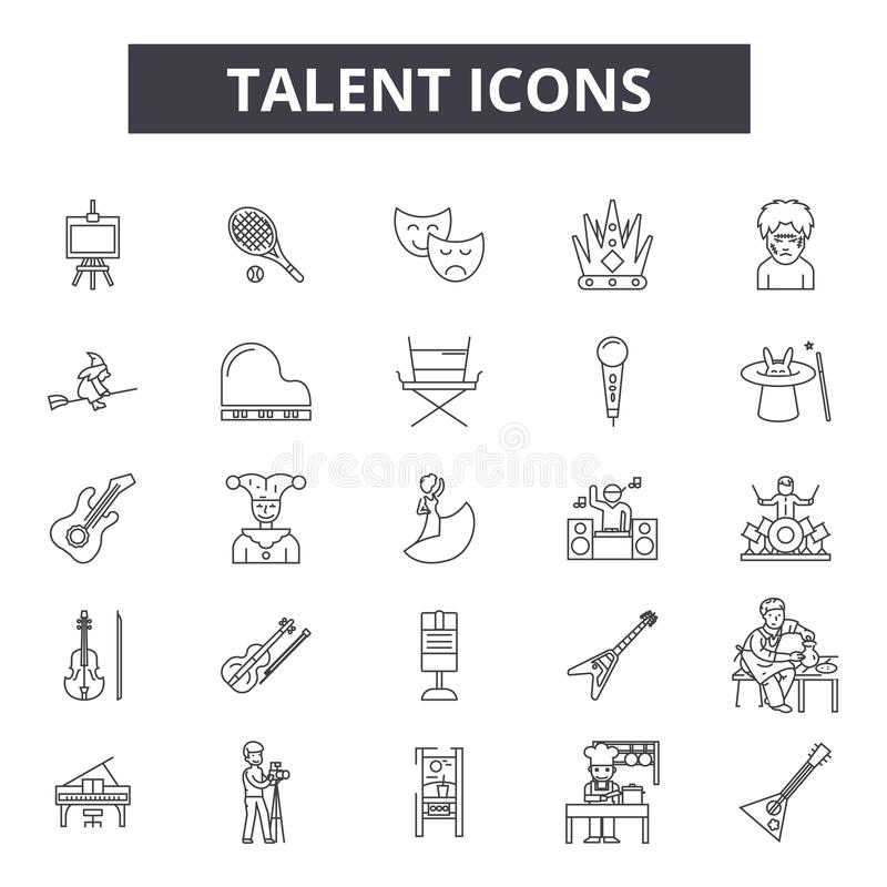 Talent line icons, signs, vector set, outline illustration concept. Talent line icons, signs, vector set, outline concept illustration stock illustration