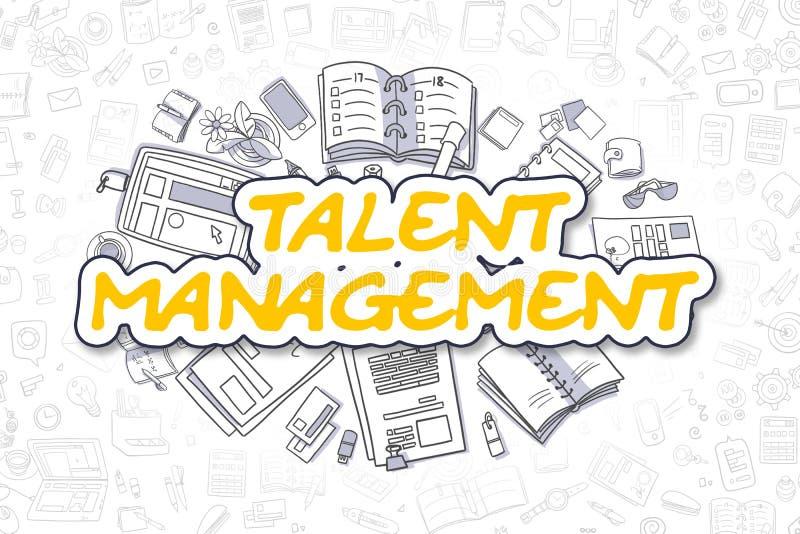 Talent Management - Cartoon Yellow Text. Business Concept. Yellow Inscription - Talent Management. Business Concept with Doodle Icons. Talent Management - Hand vector illustration